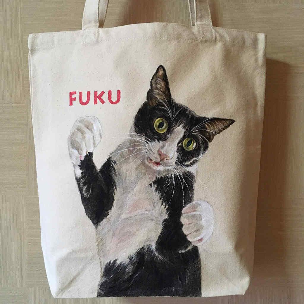 ハチ割れ猫のFUKUちゃんのトートバッグ